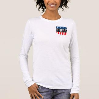 hillary clinton 08. (double-sided) stars&stripes. long sleeve T-Shirt