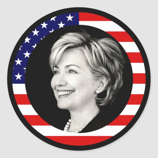 hillary clinton 08. us flag. picturesque. classic round sticker