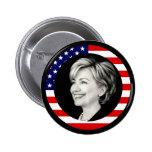 hillary clinton 08. us flag. picturesque. pinback button