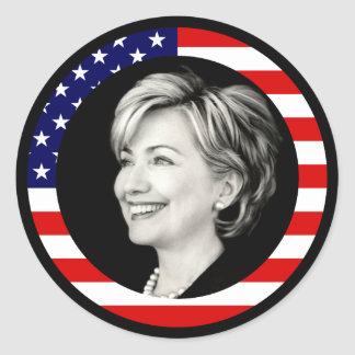 hillary clinton 08 us flag picturesque sticker