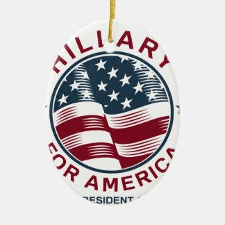 Hillary Clinton 16 Adorno Navideño Ovalado De Cerámica