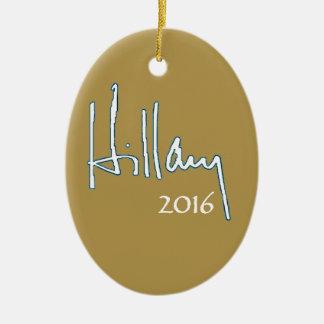 Hillary Clinton 2016 Adorno Navideño Ovalado De Cerámica