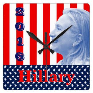 Hillary Clinton 2016 Square Wallclocks