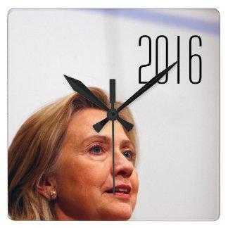 Hillary Clinton 2016 Square Wall Clocks
