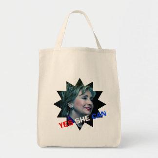 Hillary Clinton 2016 - Ella puede sí - tote Bolsa Tela Para La Compra