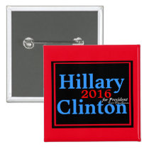 Hillary Clinton 2016 for President Red Accent 2 Inch Square Button