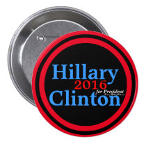 Hillary Clinton 2016 for President Red Accent Ring 3 Inch Round Button