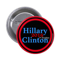 Hillary Clinton 2016 for President Red Accent Ring 2 Inch Round Button