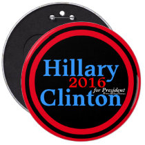 Hillary Clinton 2016 for President Red Accent Ring 6 Inch Round Button