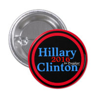 Hillary Clinton 2016 for President Red Accent Ring 1 Inch Round Button