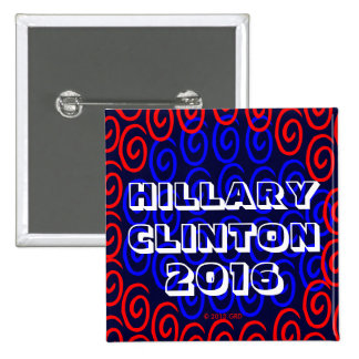 HILLARY CLINTON 2016 LUCKY SWRILS SQUARE BUTTON