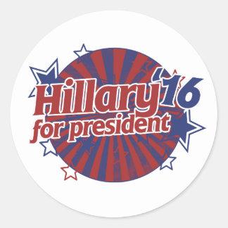 Hillary Clinton 2016 Pegatina Redonda