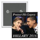 Hillary Clinton 2016 Pin Cuadrado