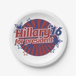 Hillary Clinton 2016 Plato De Papel 17,78 Cm