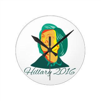 Hillary Clinton 2016 President Democrat Retro Round Clock