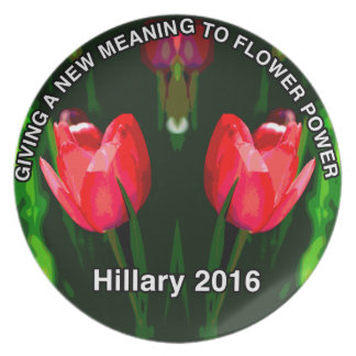Hillary Clinton 2016 Red Flower Dinner Plate