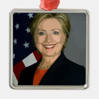 hillary Clinton Adorno Navideño Cuadrado De Metal