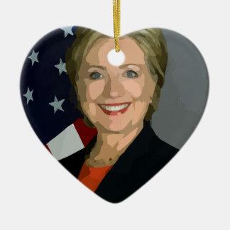 hillary Clinton Adorno Navideño De Cerámica En Forma De Corazón