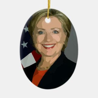 hillary Clinton Adorno Navideño Ovalado De Cerámica