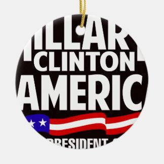 Hillary Clinton Adorno Navideño Redondo De Cerámica