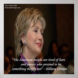 Hillary Clinton América y poster de la cita de los