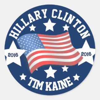 Hillary Clinton and Tim Kaine 2016 Classic Round Sticker