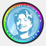hillary Clinton. arco iris Etiqueta Redonda