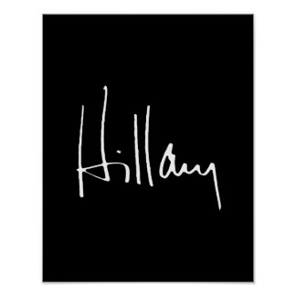 HILLARY CLINTON AUTOGRAPH -.png Print