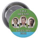 Hillary Clinton, Barack Obama y John Kennedy Pin Redondo De 3 Pulgadas