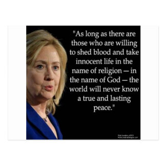 Hillary Clinton Blood Religion Quote Postcard