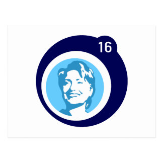 hillary clinton blue bubble postcard