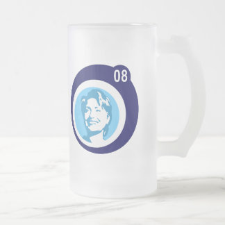 hillary clinton : blue bubbles : frosted glass beer mug