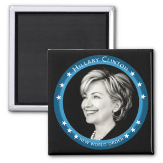 hillary clinton : blue rays : 2 inch square magnet
