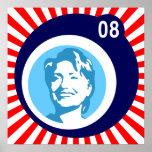 hillary Clinton: burbujas azules y rayos rojos: Posters