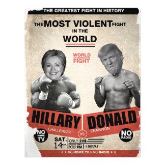 """Hillary Clinton contra Donald Trump 2016 Folleto 8.5"""" X 11"""""""