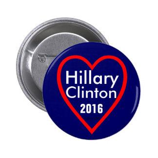 Hillary Clinton (corazón) 2016 Pin Redondo De 2 Pulgadas