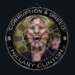 "Hillary Clinton - Corruption and Greed Dart Board<br><div class=""desc"">How many of us despise this liar so much that you want to do something?  Now you can,  by plugging darts into her head day &amp; night!  A Republican in Democrat clothing...  go ahead,  plug this painting of Hillary!</div>"