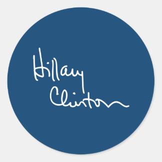 Hillary Clinton dedica (blanco) - .png Pegatina Redonda