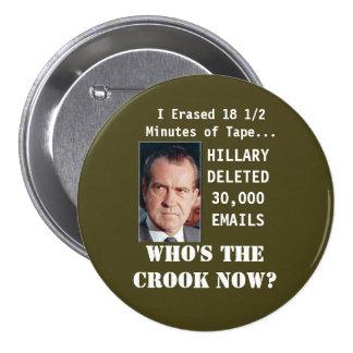 Hillary Clinton E-Mail Button with Nixon Pro Trump