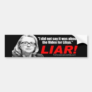 ¡Hillary Clinton el mentiroso Etiqueta De Parachoque