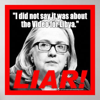 ¡Hillary Clinton el mentiroso! Posters