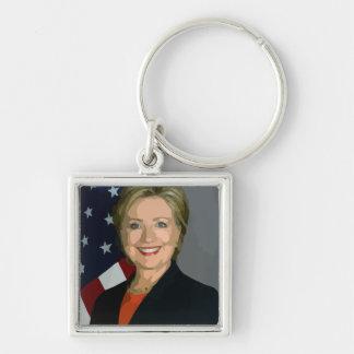 Hillary Clinton election 2016 Premium Square Silver-Colored Square Keychain