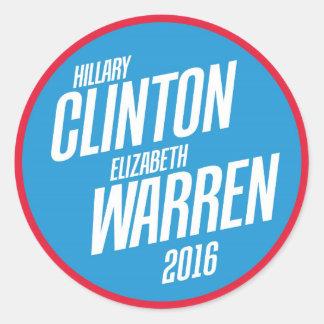 Hillary Clinton - Elizabeth Warren 2016 pegatinas Pegatina Redonda