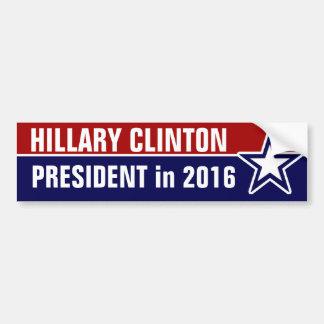 Hillary Clinton en 2016 Pegatina Para Auto