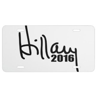 Hillary Clinton For President 2016 Autograph License Plate