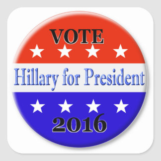 HILLARY CLINTON FOR PRESIDENT 2016 SQUARE STICKER