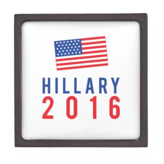 Hillary Clinton for President 2016 with Flag Premium Jewelry Box