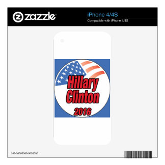 Hillary Clinton for president in 2016 Decal For The iPhone 4S