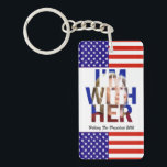 """Hillary Clinton For President Keychain<br><div class=""""desc"""">A cool elections design we created just for you! Featuring a really nice picture of Hillary Clinton looking regal with text that says &quot;I am With Her&quot; and &quot;Hillary For President 2016&quot; Show your love and support for Hillary! This design is available on many different products in our store-Visit our...</div>"""