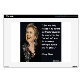 """Hillary Clinton """"My Parents & Education"""" Quote Laptop Skins"""